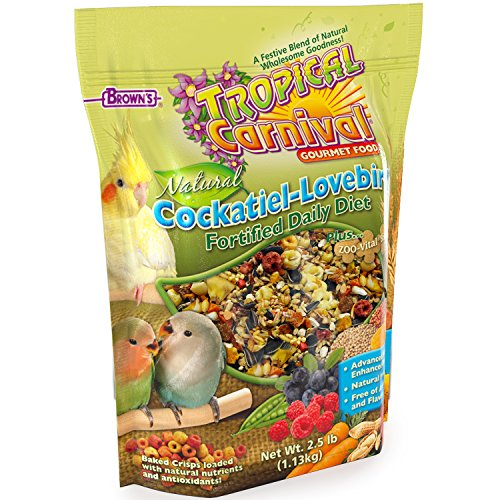 (F.M. Brown'S Tropical Carnival Natural Cockatiel-Lovebird Food, 2.5-Lb Bag - Vitamin-Nutrient Fortified Daily Diet With Natural Preservatives And No Artificial Flavors Or Colors)