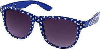 """SIX """"Trend Retro Sonnenbrille, Wayfarer Stil, in blau mit weißen Polkadots/Punkten (324-247)"""