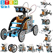 Sillbird STEM 12-in-1 Education Solar Robot Toys -190 Pieces DIY Building Science Experiment Kit for Kids Aged