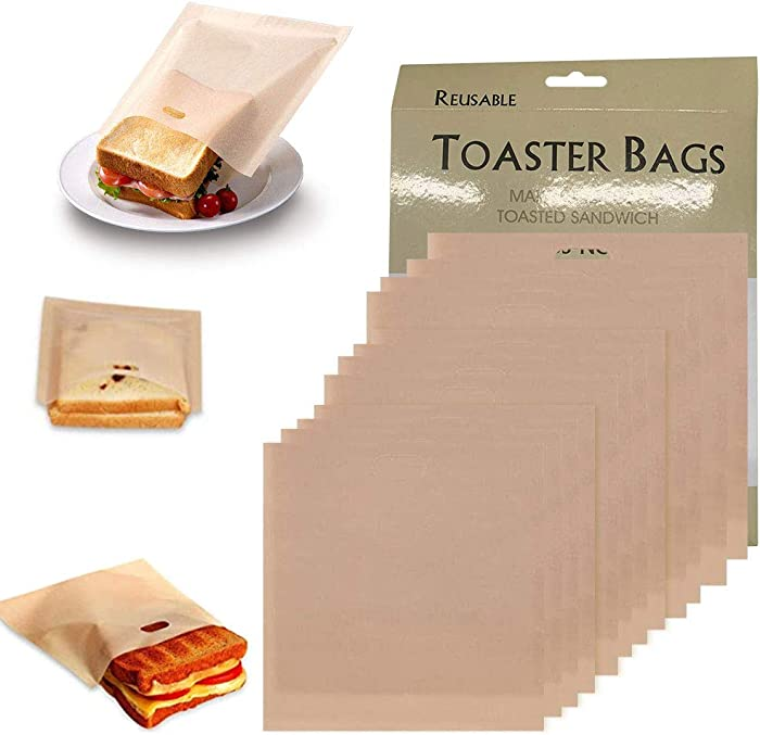 Tezam Toaster Bags Reusable for Grilled Cheese Sandwiches | Safest On The Market - 100% BPA & Gluten Free | Non Stick Toast Bag (12PCS)