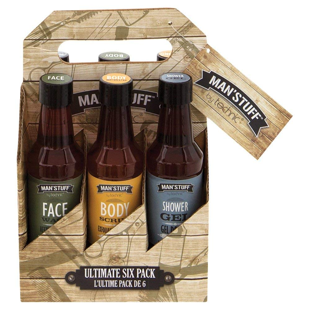 Man'Stuff - Ultimate 6 Pack, Men's Christmas Gift Set Containing Body Scrub, Face Wash, Hair & Body Wash, Body Lotion, Aftershave Balm & Bath Soak