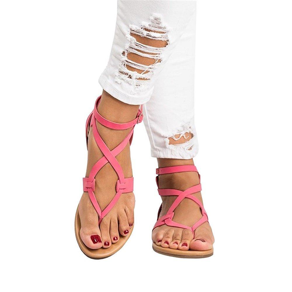 Sandales Plate Femme Tong Cuir Bout Ouvert Chic Plage Romaines Bohême Plateforme Gladiateur Legere Été Dames Chaussure Flip Flop Noir 35-43 203101