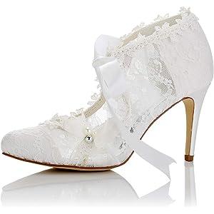 JIAJIA 16798 Womens Bridal Shoes Closed Toe High Heel Lace Satin Pumps Pearl Bowknot Ribbon Tie