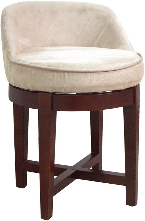 Elegant Home Fashions Swivel Chair with Beige Faux-Suede Upholstery, Cherry