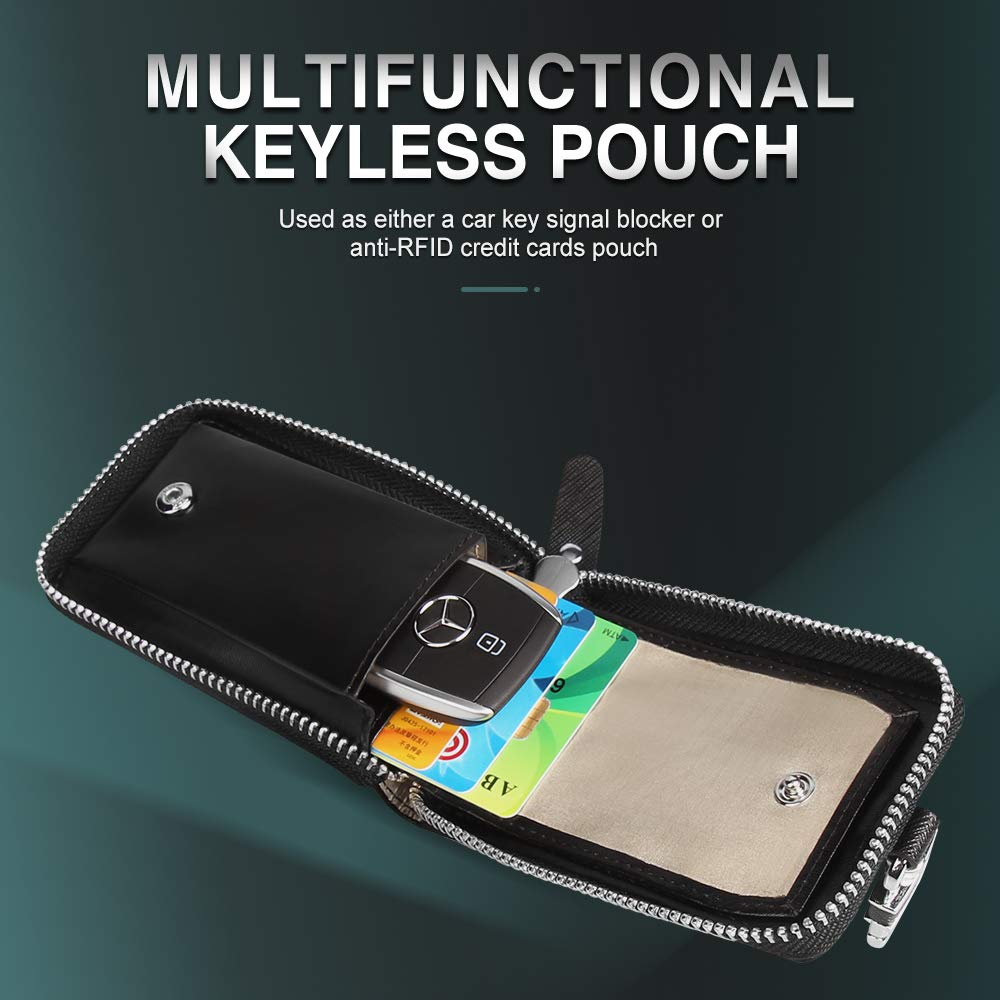 Aukee Faraday Bag for Remote Key Fobs Case RFID Signal Blocking Pouch Anti-Theft Anti-Hacking Black 1 Pack