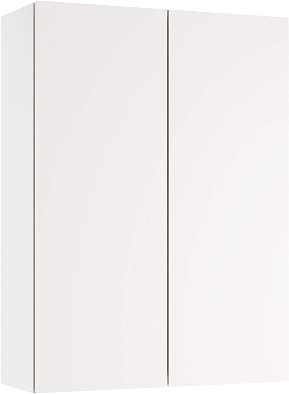 Baikal 280034004 Armario Auxiliar de Baño Suspendido Multiusos, Puertas y Dos Estantes Interiores, Melamina, Blanco Mate, 54 X 74 X 21 cm