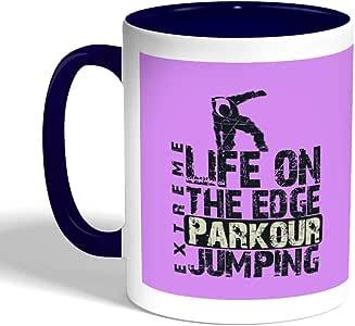 كوب سيراميك للقهوة life on the edge jumpin بطبعة ، لون ازرق