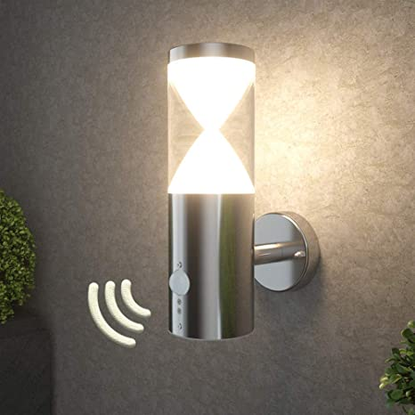 NBHANYUAN Lighting/® LED Au/ßenlampe mit Bewegungsmelder und D/ämmerungsschalter Aussenwandleuchten Silber Edelstahl 3000K Warmwei/ß Licht 220-240V 1000LM 9.5W IP44 mit PIR Sensor