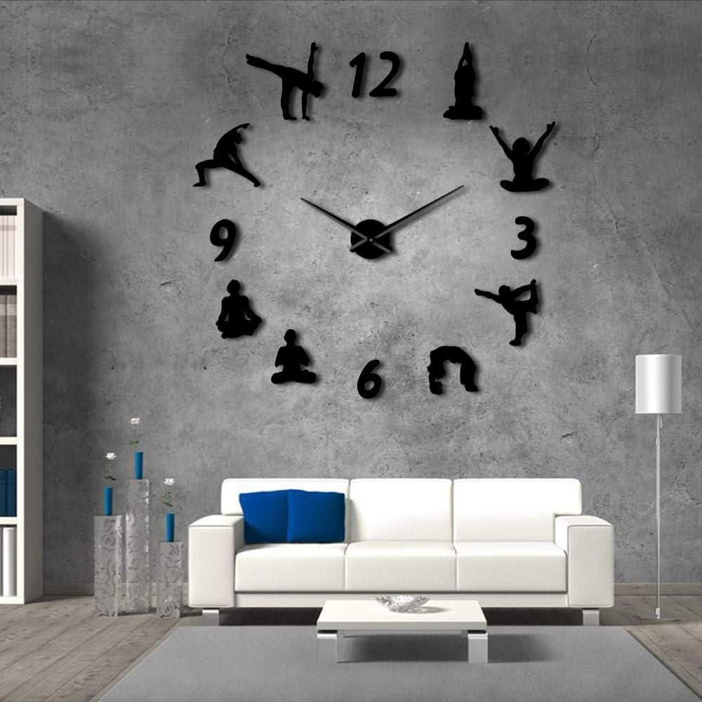 Djkaa Yoga Relojes De Pared Grandes Efecto Espejo Sala De Estar DIY Reloj De Pared Meditación Zen Arte De La Pared Decoración del Hogar Reloj Sin Reloj(27 Inch)