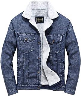 Rosennie Herren Denim Jacke Herbst Winter Mode Verlieren Jacken Männer Taschen Knopf Flick Jeans Winterjack Fashion Loose Jacket Coat Mantel Fashion Sherpa Trucker Jacke