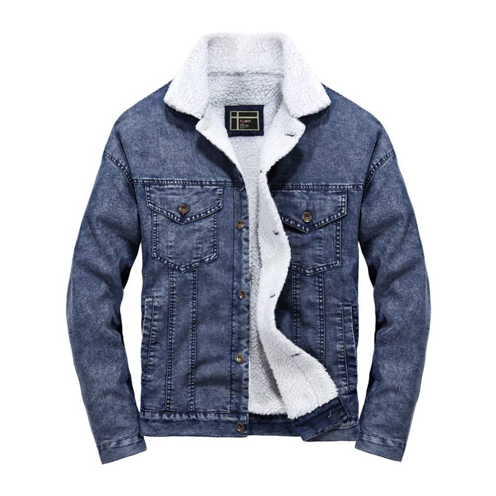 Mens Puffer Jacket Packable with Hood. Men's Autumn Winter Pocket Button Flick Denim Fashion Loose Jacket Top Coat Pandaie AAA-121254