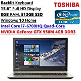 Toshiba 2016 Flagship S55 Model 15.6-inch Full HD LED-backlit Gaming Laptop | Intel i7-6700HQ | 8GB RAM | 512GB SSD | NVIDIA GTX 950M 4GB Video | WiFi | Bluetooth | Backlit Keyboard | Windows 10
