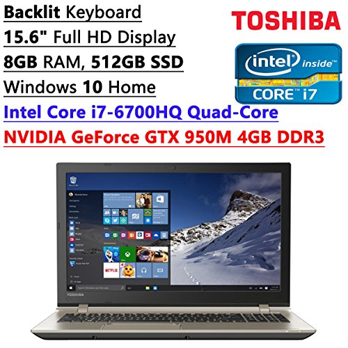 Price comparison product image Toshiba 2016 Flagship S55 Model 15.6-inch Full HD LED-backlit Gaming Laptop | Intel i7-6700HQ | 8GB RAM | 512GB SSD | NVIDIA GTX 950M 4GB Video | WiFi | Bluetooth | Backlit Keyboard | Windows 10
