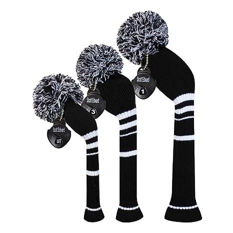 Color negro rayas blancas Golf Pom Pom Funda para cabeza Set ...