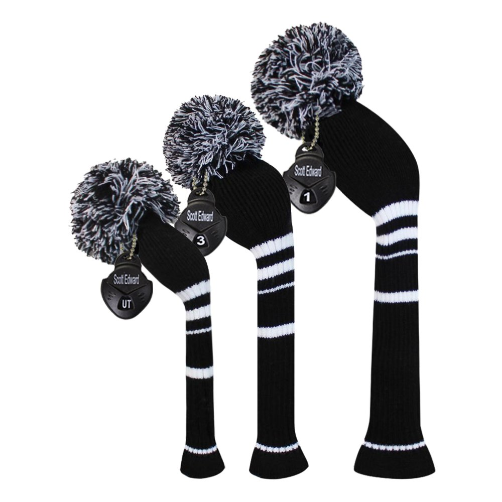Scott Edward Black Color White Stripes Golf Pom Pom Head Covers Set of 3 for Wood Clubs, Rotating Number Tags