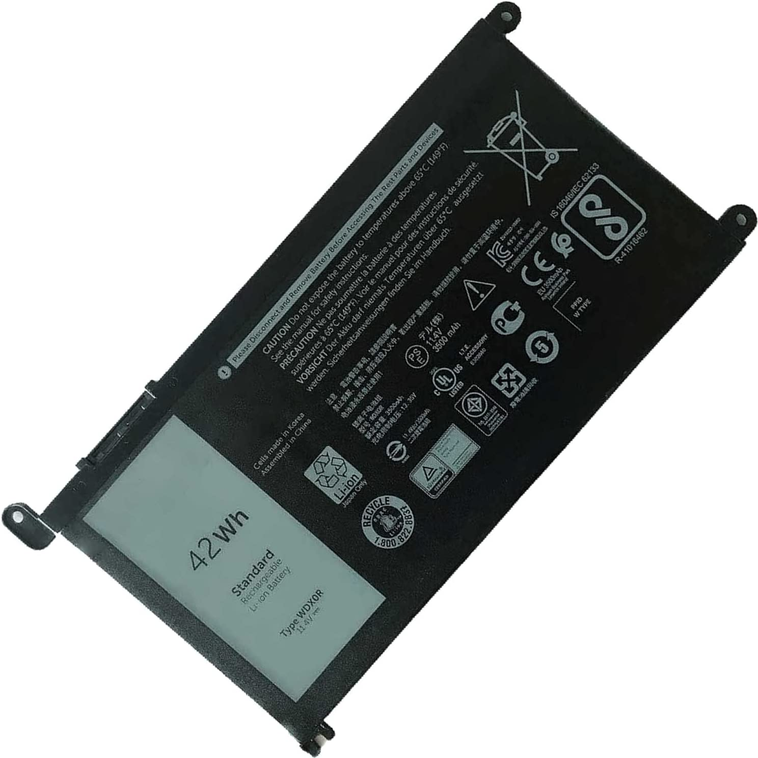 DELL WDX0R Notebook Battery for Dell Inspiron 15 5565 5567 5568 5578 5579 7560 7570 7573 7579 7580 7569 13 5368 5378 5379 7368 7378 14 7460 17 5765 5767 5770 Latitude 3480 3580 3490 11.4V 42Wh