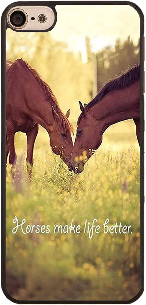 iPod Touch 6 Case,Horse Theme Design Slim Impact Resistant Hard Plastic Protective Case Cover for Apple iPod Touch 6