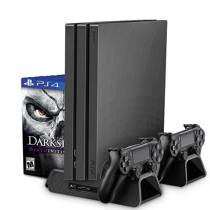 RegeMoudal Soporte Vertical para PS4/PS4 Slim/Pro Base PS4 Refrigeración con 3 Ventiladores Refrigeración,2 Puertos USB,Doble Estación de Carga Pare ...