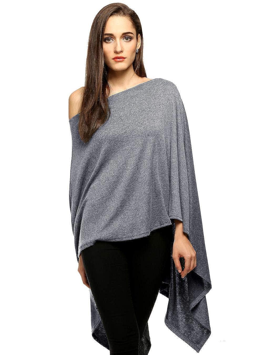 Pudrew Frauen Mode Slash Neck Lange asymmetrische Saum Wraps Poncho Cape Coat Pullover