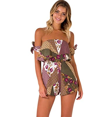 8fff0c674104 Summer Playsuits Womens Off The Shoulder Bandeau Playsuit Ladies Jumpsuits  Short for Women Floral Going Out