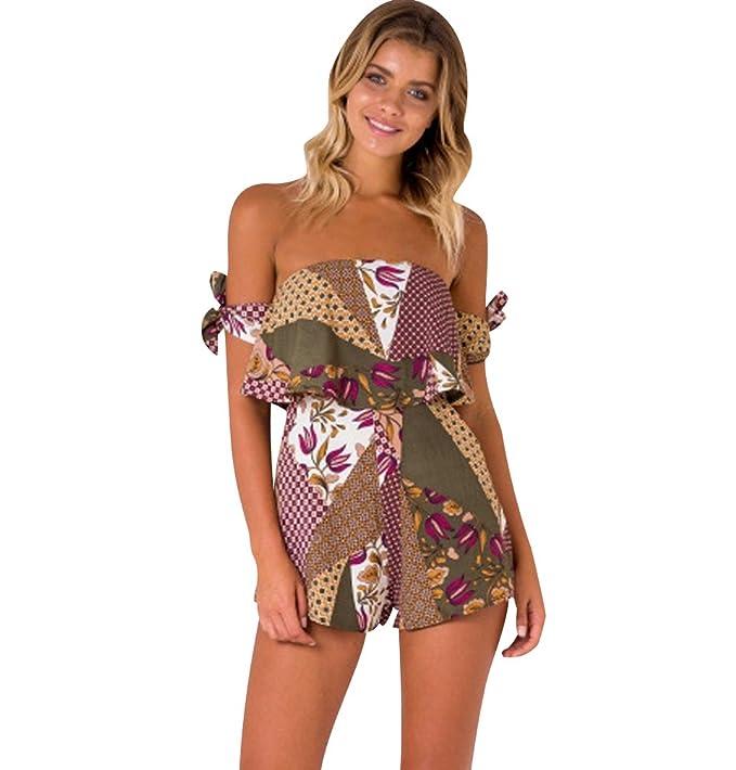 f4793446e14 Monos de Fiesta Cortos Mujer Mono de Vestir Corto Verano Jumpsuit Moño Sin  Tirantes Estampados Flores