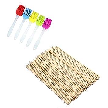 Juego de pinceles de bambú para barbacoa – 5 colores de silicona para base de pinceles