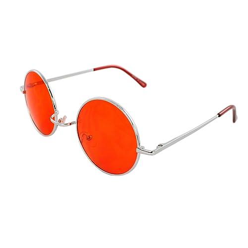 ffa1024e8f Amazon.com  MLC Eyewear 7133-SVRRD Retro Round Sunglasses Silver Red ...