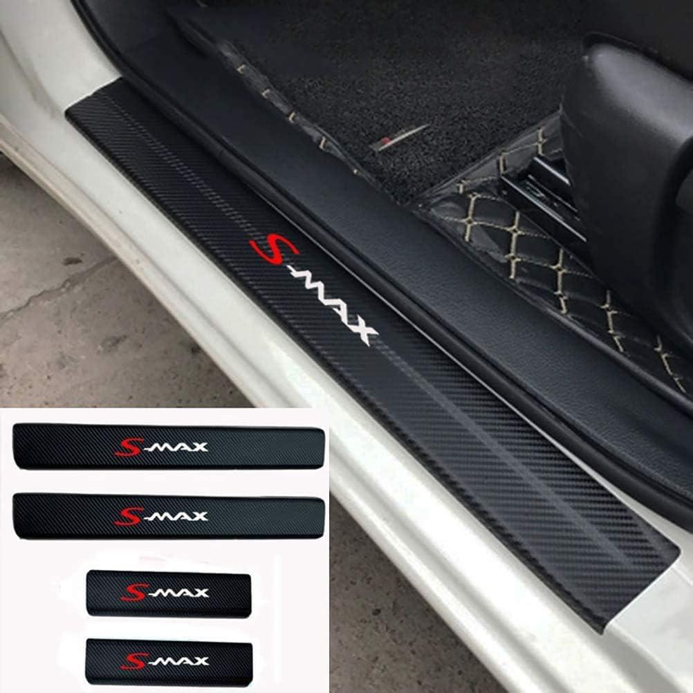 Gemmry 4pcs St/ück Einstiegsleisten Schutz Stickers f/ür Ford Smax S-MAX,Einstiegsleiste Aufkleber Autodekorationszubeh/öR mit Logo Kratzfest Kohlefaser