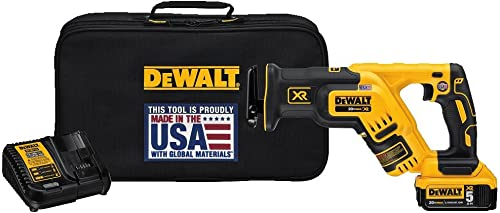 DEWALT 20V MAX XR Compact Reciprocating Saw, 5.0-Amp Hour DCS367P1