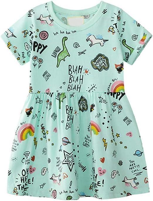 Niñas vestidos casuales Vestido de algodón informal para niñas ...