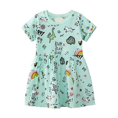 Fiesta Kids Sundress Vestido de algodón informal para niñas ...