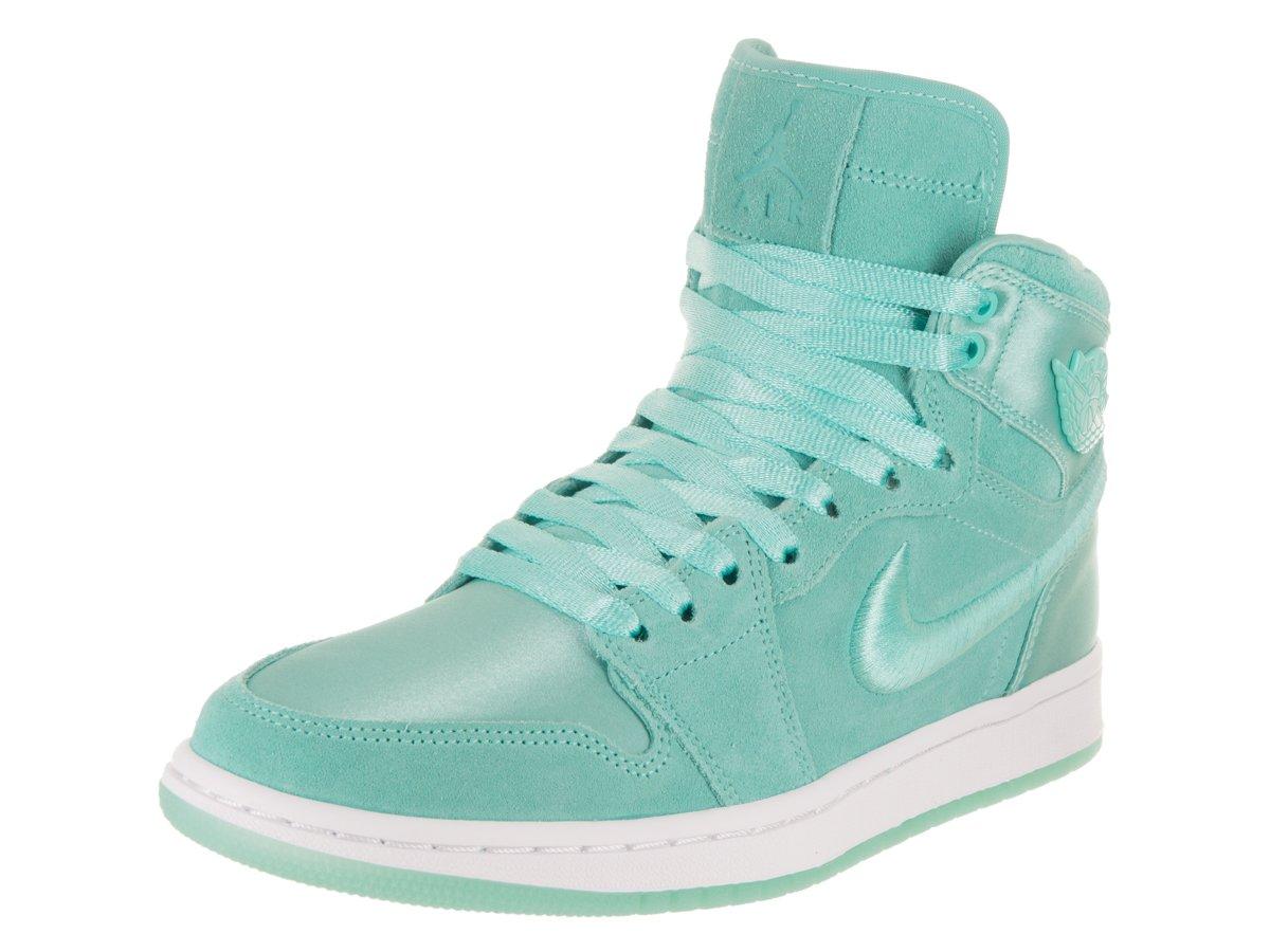 Jordan Nike Women's Air 1 Retro High SOH Light Aqua/White Metallic Gold Casual Shoe 8.5 Women US