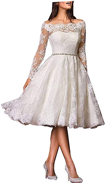 Sulidi Women S Short Lace Tea Length Wedding Dresses Long Sleeves