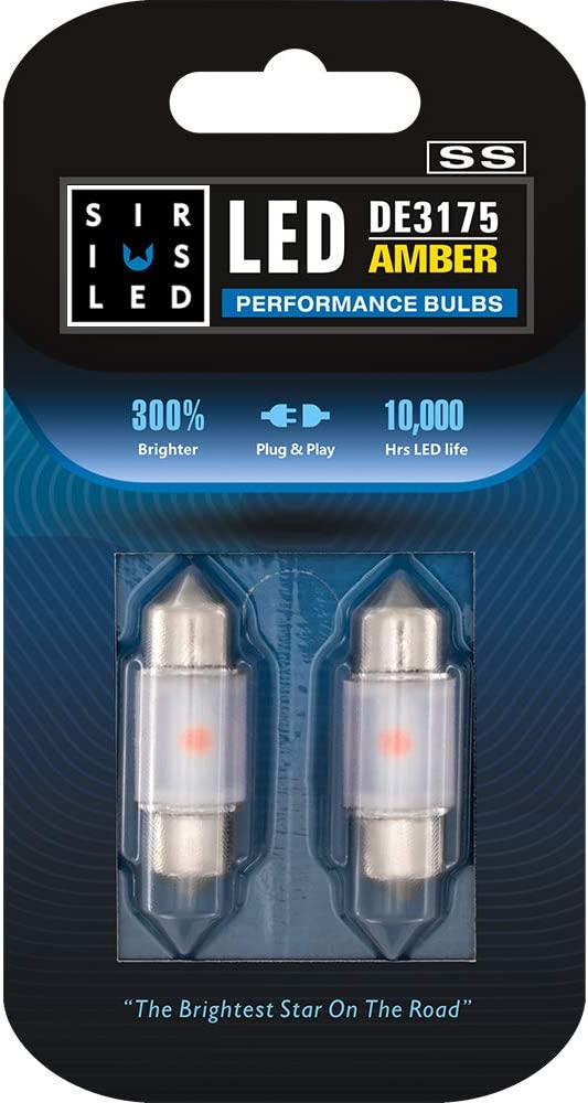 SIRIUSLED - SS DE3175 31MM LED Festoon Bulb for Car Interior, Map, Dome, Courtesy, Door, Trunk, Cargo, License Light with Cylinder Design Smooth Brightness Plug and Play Pack of 2 (Amber/Orange)