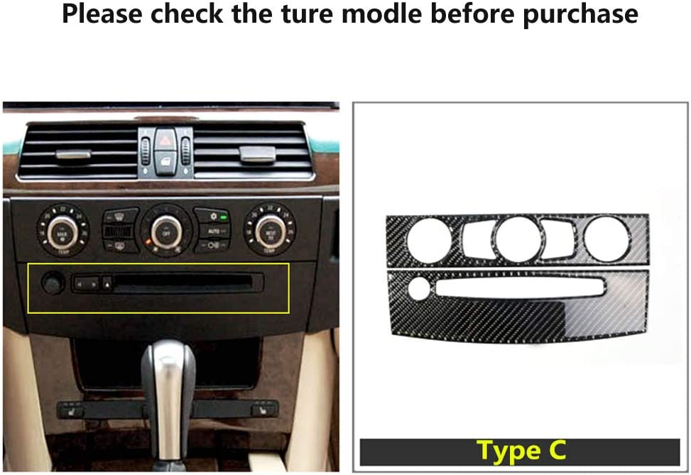 Thor-Ind Carbon Fiber Air Conditioning AC /& CD Control Panel Cover Trim for BMW E60 5 Series 2008-2010 Accessories Air-Conditioner Console/Panel Decoration Frame Sticker Type A