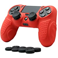 CHINFAI PS4 Controller DualShock 4 Skin Grip Anti-Slip Silicone Cover Protector Case for Sony PS4/PS4 Slim/PS4 Pro Controller with 8 Thumb Grips (Red)