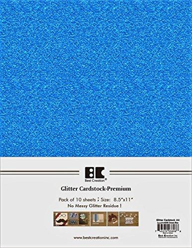 Best Creation A4 Glitter Cardstock, Ocean Blue, 10 Piece