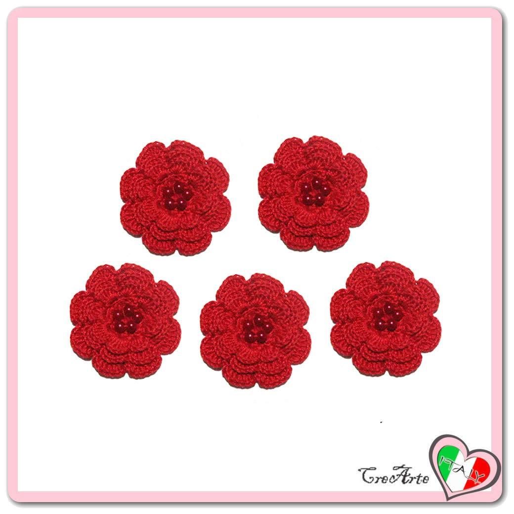 Set 5 flores rojas de ganchillo para aplicaciones - Tamaño ...