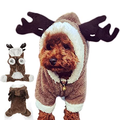 GossipBoy linda disfraces perros, reno pretendido, ropa para Yorkshire Terrier, Chihuahua, Pomeranian, etc., suéter mascotas, Navidad Halloween ...