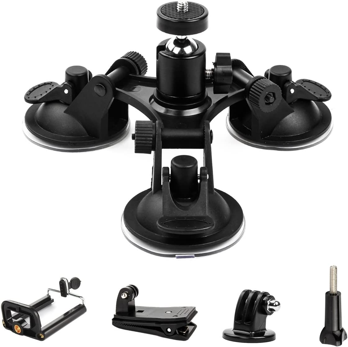 Triple Cup - Camera Suction Mount - Car Mount Triple Suction Cup Mount with 1/4 Threaded Head 360 Degree Tripod Ball Head