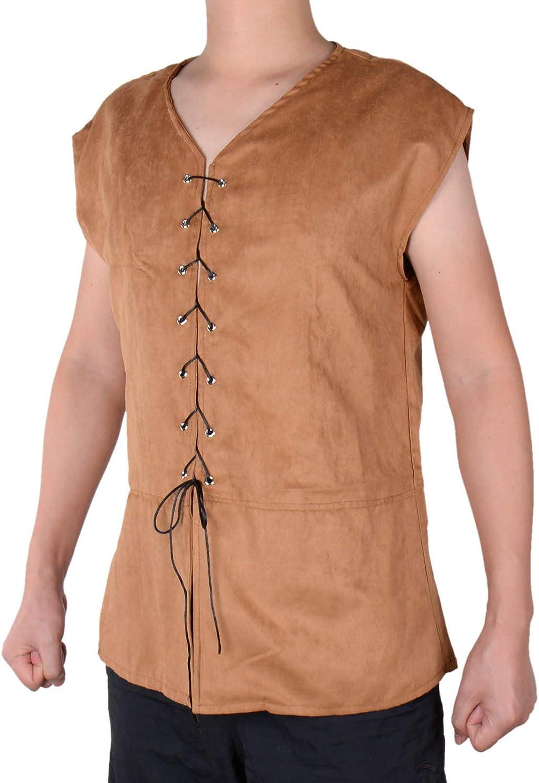 Mens Medieval Vest Sleeveless Steampunk Renaissance Pirate Viking Top Lace-up Male Waistcoats Cowboy Coat