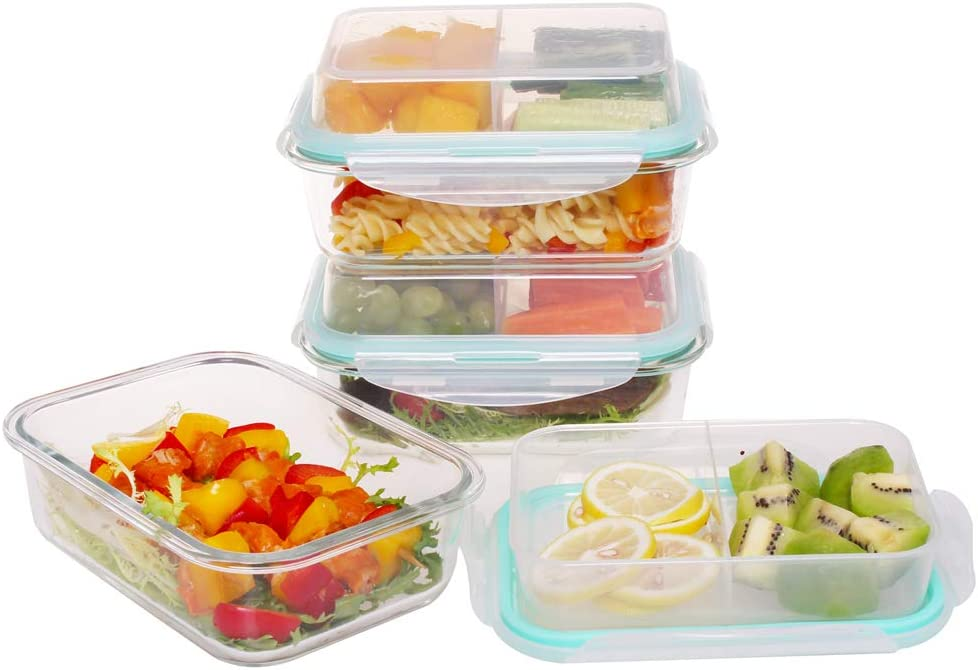 Comida Lunch Boxes - 3 Compartment Multifunction Glass Meal Prep Food Containers 5 pack Container -XaviersBazaar Bento Box Containers Glass Food Storage with 2 Compartment Lids - 5 Pack, 10 Pieces