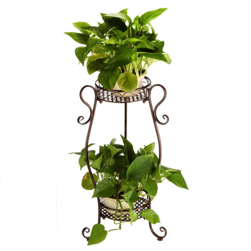 Garbagemall 2 Tiered Scroll Decorative Metal Stands Plant Indoor Flower Pot Rack Display Shelf Holds 2 Flower Pot Black DAZONE