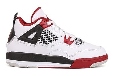 competitive price 60198 16ca6 Amazon.com   Nike Air Jordan 4 Retro Little Kids (PS) Boys Basketball Shoes  308499-110 White 11 M US   Basketball