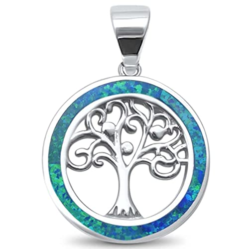 dcf330223 Lab Created Blue Opal Family Tree of Life Whimsical .925 Sterling Silver  Charm Pendant