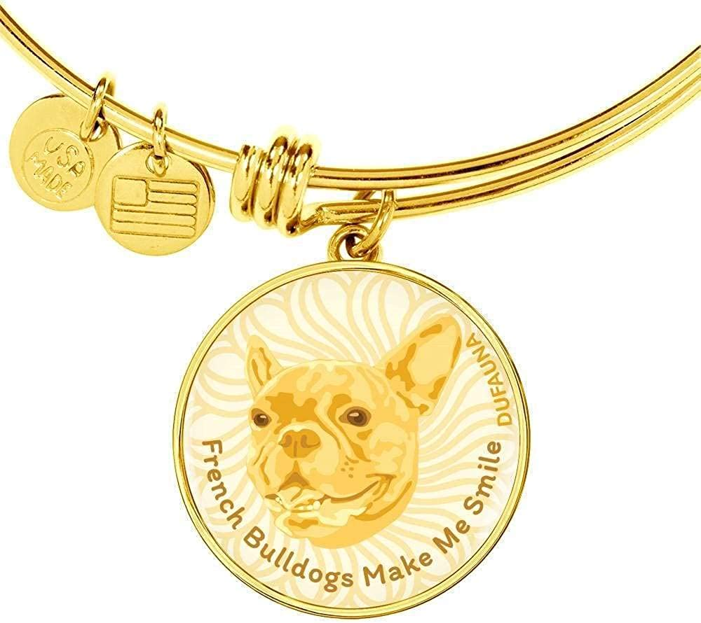 Steel or 18k Gold Finish Adjustable DuFauna Yellow//White French Bulldogs Make Me Smile Bangle Bracelet D19 Many Colors