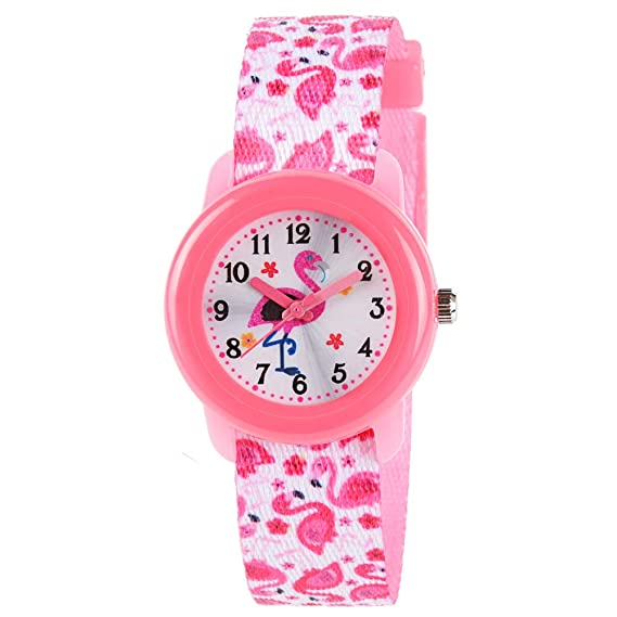 Venhoo Kids Watches Cute Cartoon Waterproof Fabric Strap Children Toddler Wrist Watch Time Teacher Birthday Gift 3-10 Year Girls Little Child-Pink Flamingo