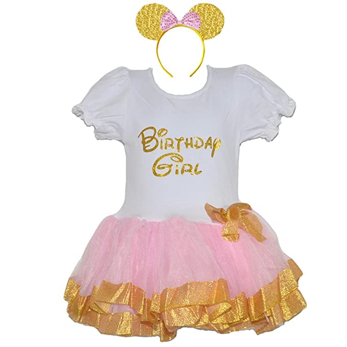 48d77e587991 Birthday Girls Dress Puff Sleeve - Gold Ribbon Strip or Gold Dots &  Headband Set (