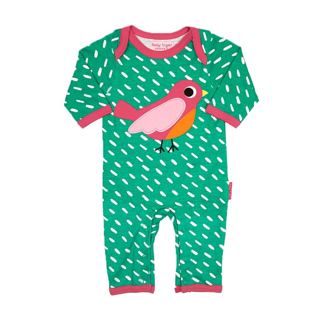 Toby Tiger Organic Cotton Bird Sleepsuit