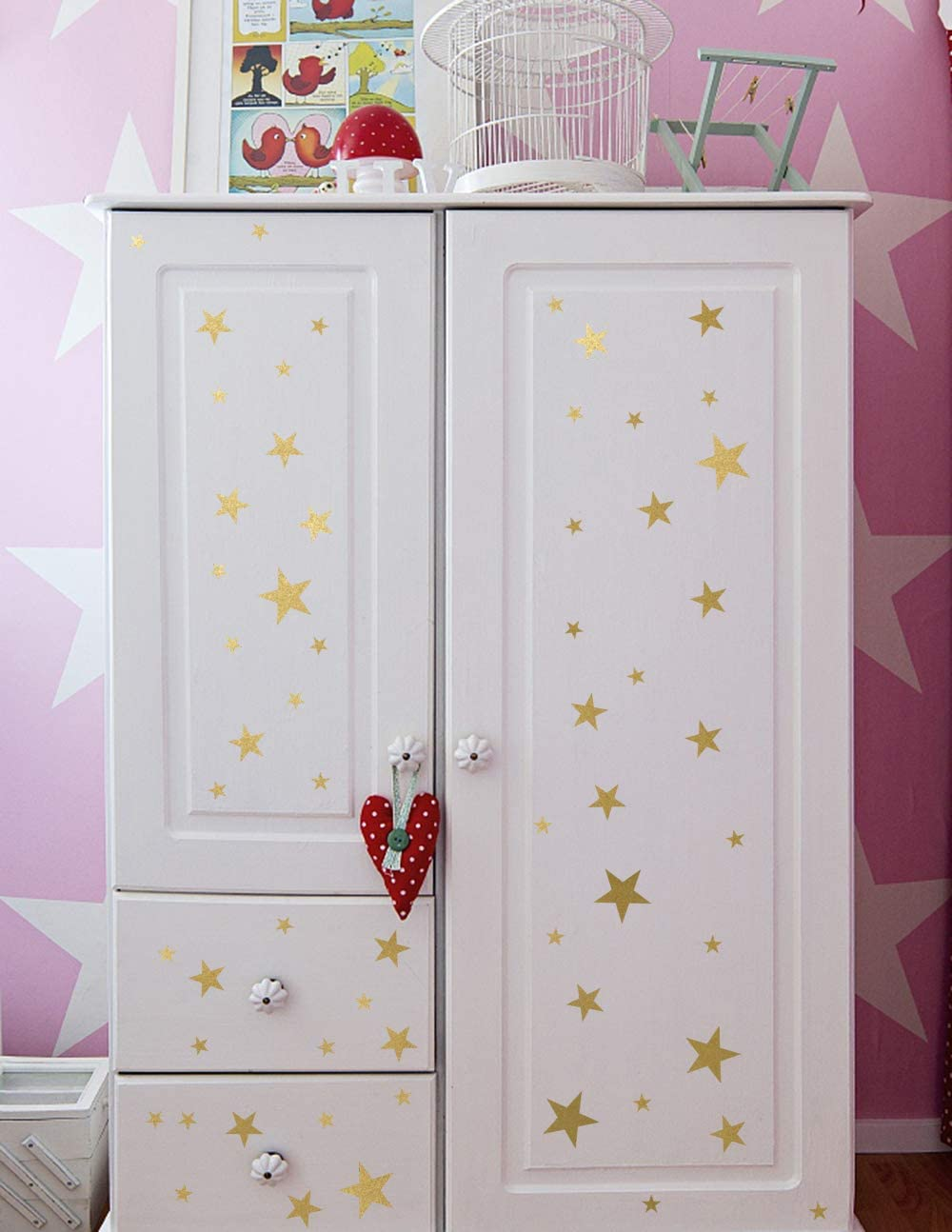 Mozamy Creative Star Wall Decals Gold Star Decals Nursery Decals Removable Peel and Stick Wall Decals 189 Count Vintage Gold
